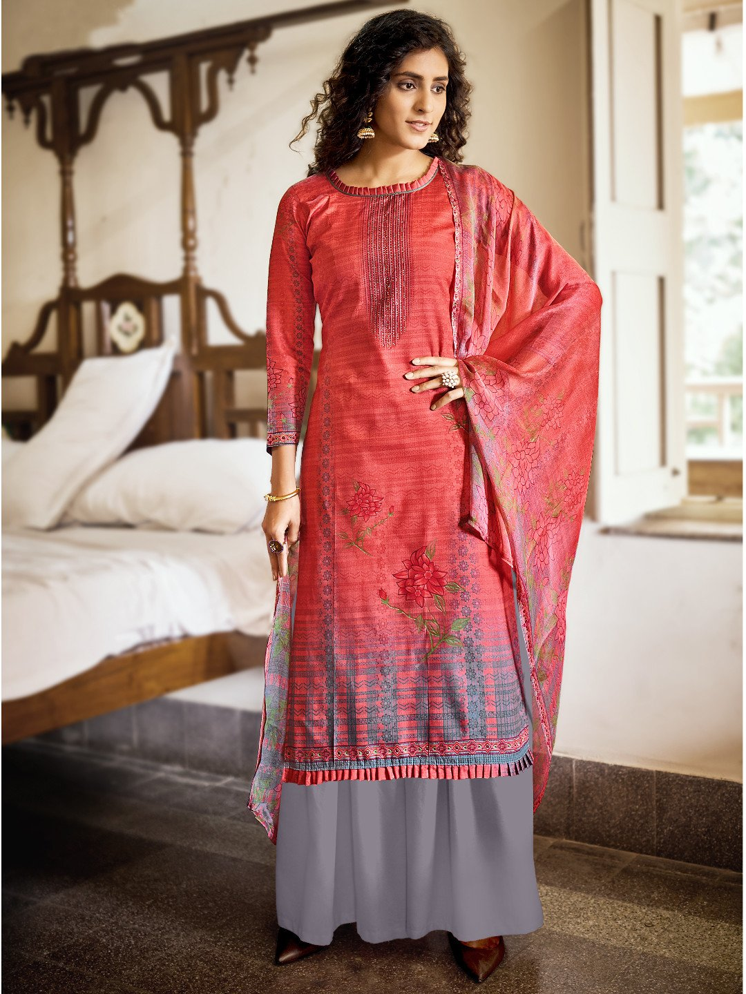 Cotton Printed Rust Un Stitched Suit with Printed Dupatta