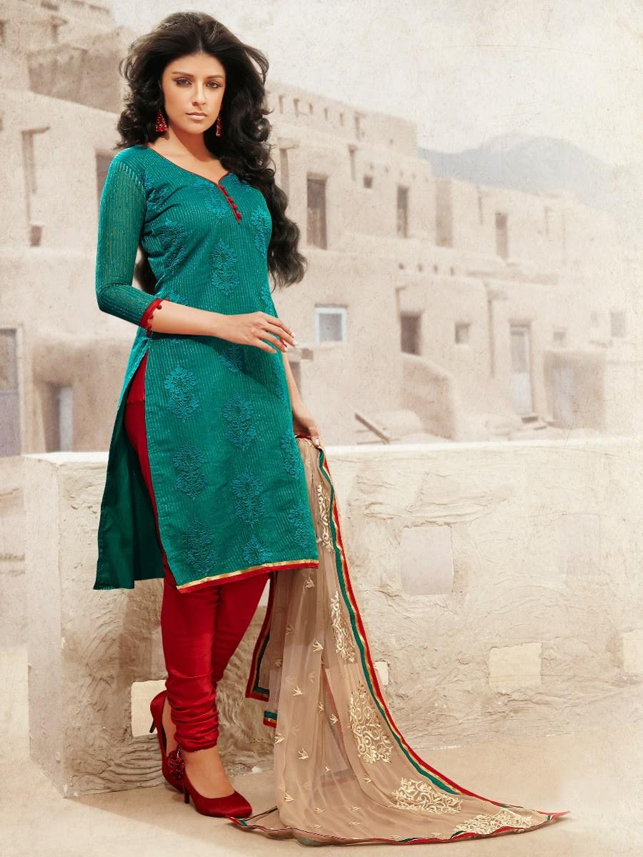 Touch Trendz Chanderi Cotton Silk Salwar Suit Dress Material 45009 Cilory Com