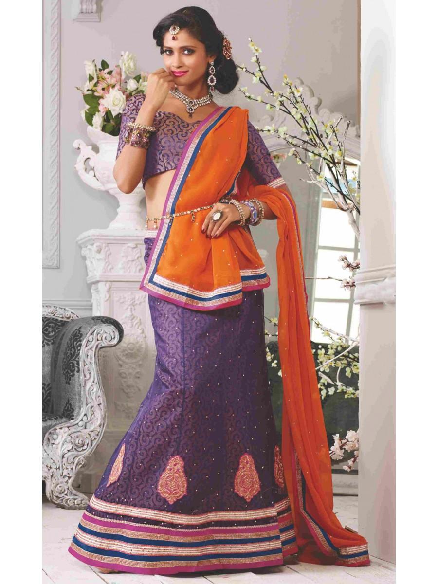 Designer Purple   M. Yellow Lehenga Choli