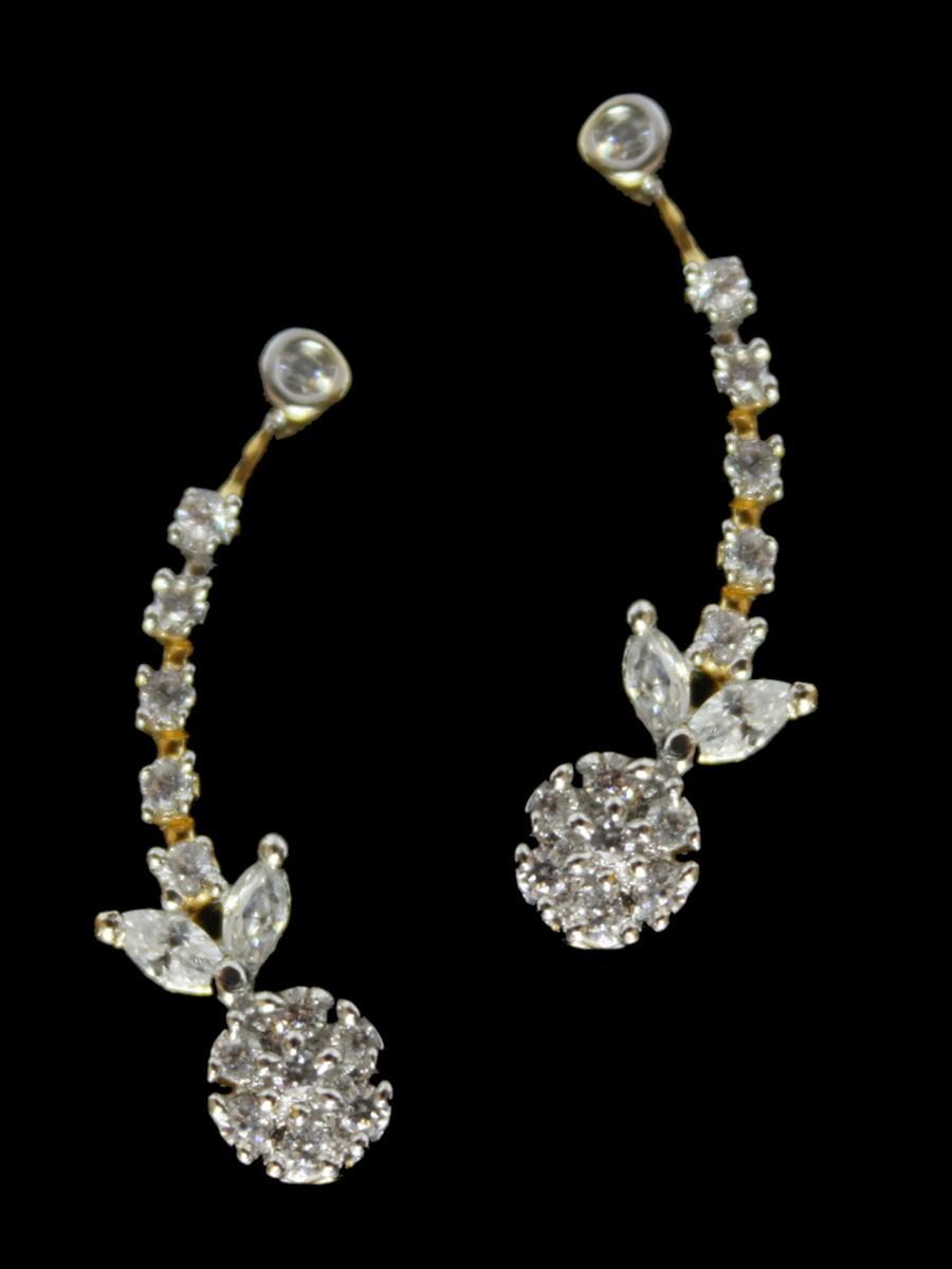 White Gold Diamond Pendant And Earring Set